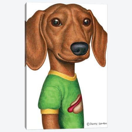 Dachshund In Green T-Shirt Canvas Print #DNG160} by Danny Gordon Canvas Art