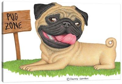 Pug On Grass Canvas Art Print