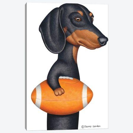 Black Dachshund Holding Orange Football Canvas Print #DNG162} by Danny Gordon Canvas Wall Art