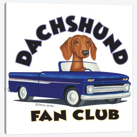 Dachshund Driving Blue Truck With Words Canvas Print #DNG168} by Danny Gordon Canvas Wall Art