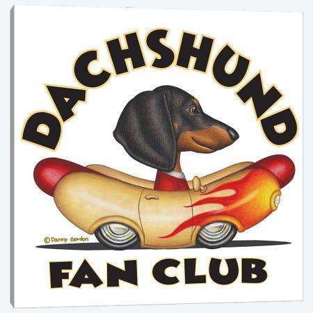 Black Dachshund Wiener Car Fan Club Canvas Print #DNG175} by Danny Gordon Canvas Wall Art