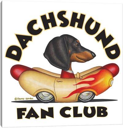 Black Dachshund Wiener Car Fan Club Canvas Art Print