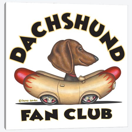 Dachshund Wiener Car Fan Club Canvas Print #DNG176} by Danny Gordon Canvas Wall Art