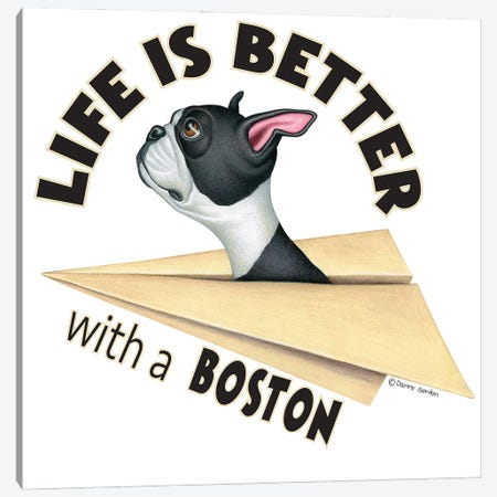 Boston Terrier Plane Life is Better Canvas Print #DNG179} by Danny Gordon Canvas Art Print