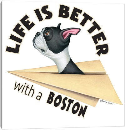 Boston Terrier Plane Life is Better Canvas Art Print