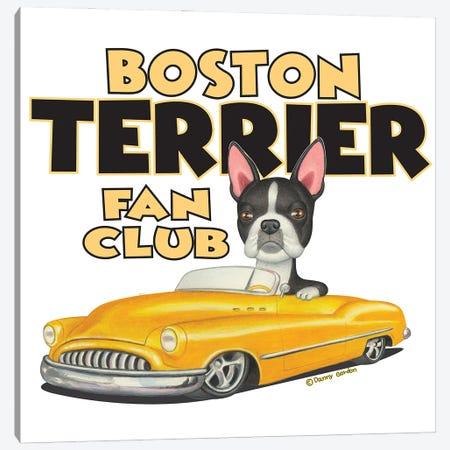 Boston terrier Yellow Car Fan Club Canvas Print #DNG181} by Danny Gordon Canvas Artwork