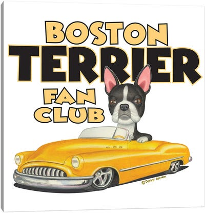 Boston terrier Yellow Car Fan Club Canvas Art Print