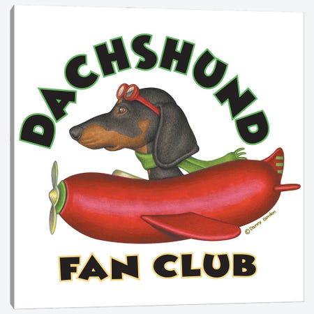 Black Dachshund Sausage Plane Fan Club Canvas Print #DNG182} by Danny Gordon Canvas Artwork