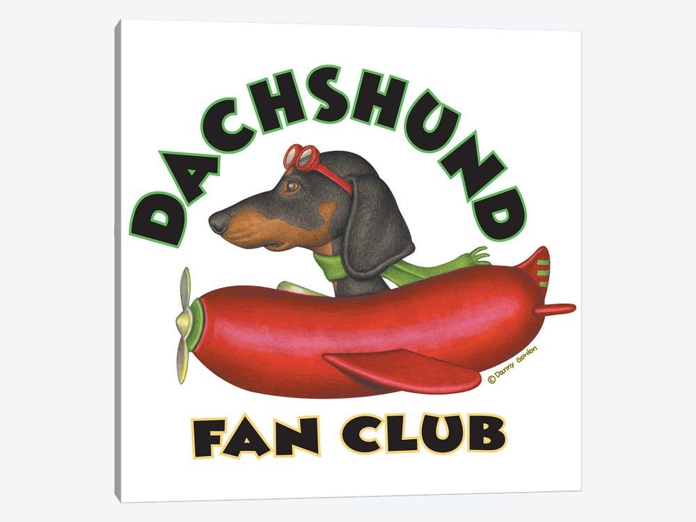 Black Dachshund Sausage Plane Fan Club by Danny Gordon 1-piece Canvas Print