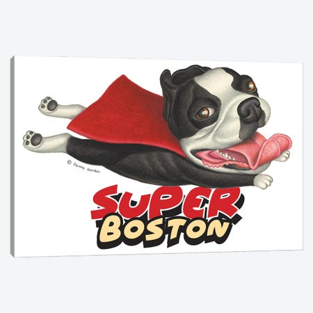 Boston Terrier Flying in Red Cape Canvas Print #DNG188} by Danny Gordon Canvas Wall Art