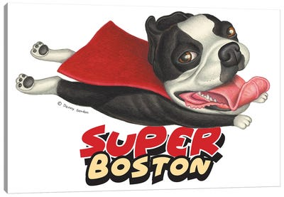 Boston Terrier Flying in Red Cape Canvas Art Print