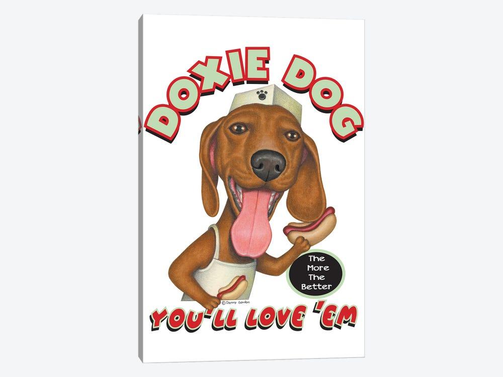 Dachshund Hotdog Salesdog by Danny Gordon 1-piece Canvas Artwork