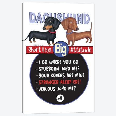 2 Dachshunds Standing Canvas Print #DNG193} by Danny Gordon Canvas Art Print