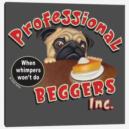 Pug Professional Begger Canvas Print #DNG196} by Danny Gordon Canvas Art