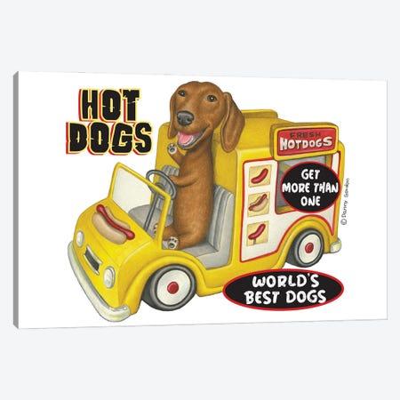 Dachshund In Yellow Hotdog Truck Canvas Print #DNG197} by Danny Gordon Canvas Art