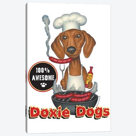 Dachshund Grilling Hotdogs Canvas Print #DNG200} by Danny Gordon Canvas Art Print