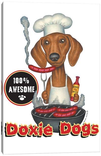 Dachshund Grilling Hotdogs Canvas Art Print