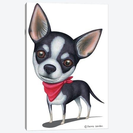Black And White Chihuahua Red Bandana Canvas Print #DNG201} by Danny Gordon Art Print
