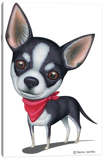 Black And White Chihuahua Red Bandana Canvas Art Print