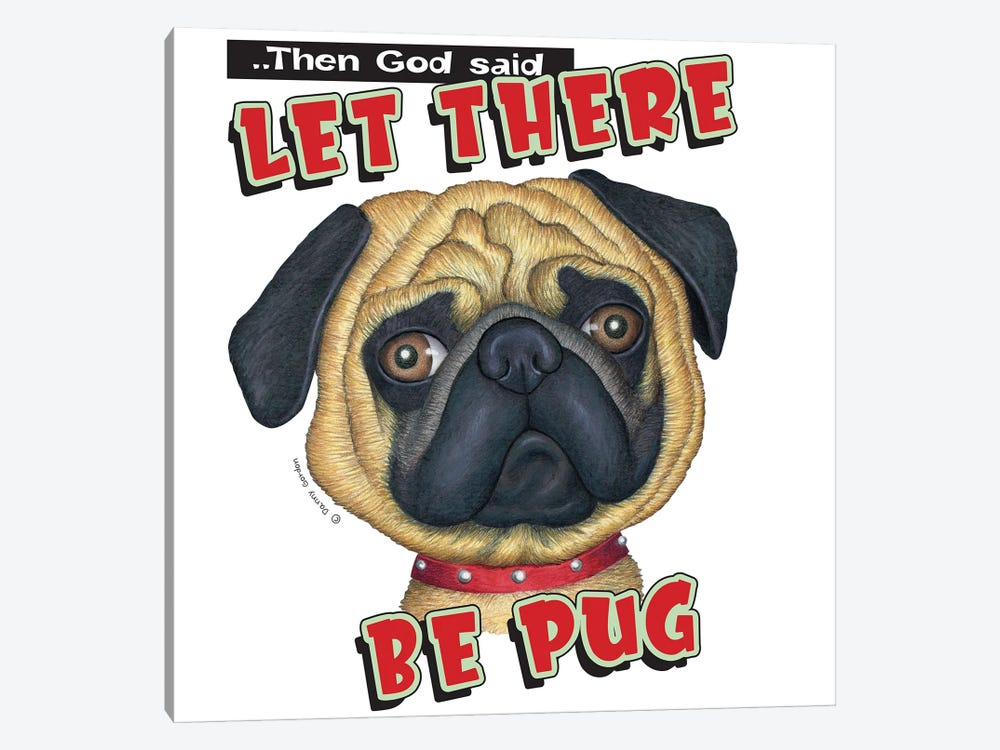 Pug With Red Collar by Danny Gordon 1-piece Canvas Print