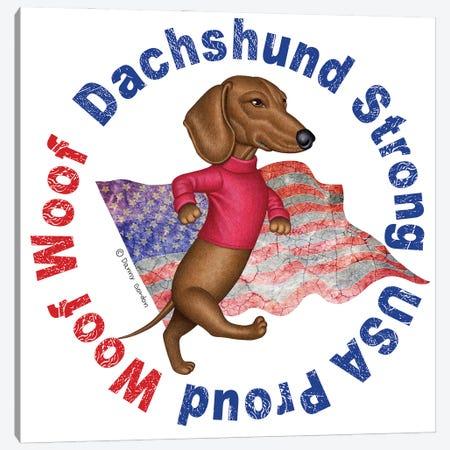 Dachshund Proud Distressed Flag Canvas Print #DNG233} by Danny Gordon Canvas Artwork