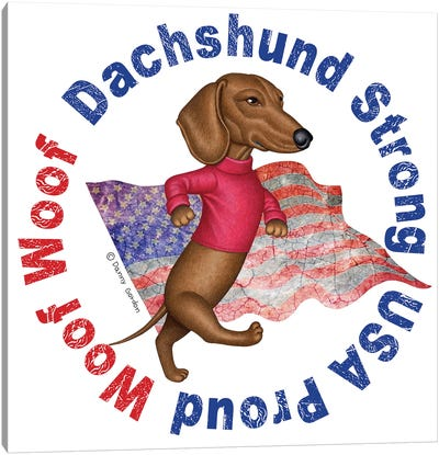 Dachshund Proud Distressed Flag Canvas Art Print
