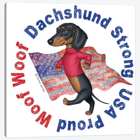 Black Dachshund Distressed Flag Canvas Print #DNG234} by Danny Gordon Art Print