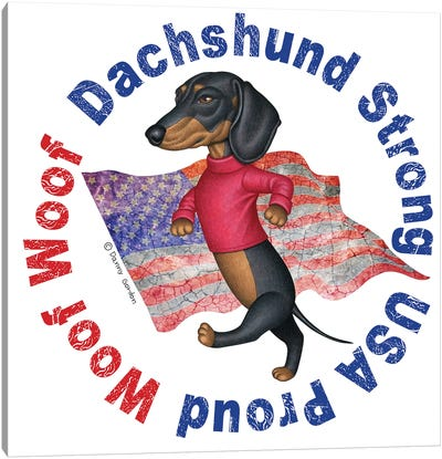Black Dachshund Distressed Flag Canvas Art Print