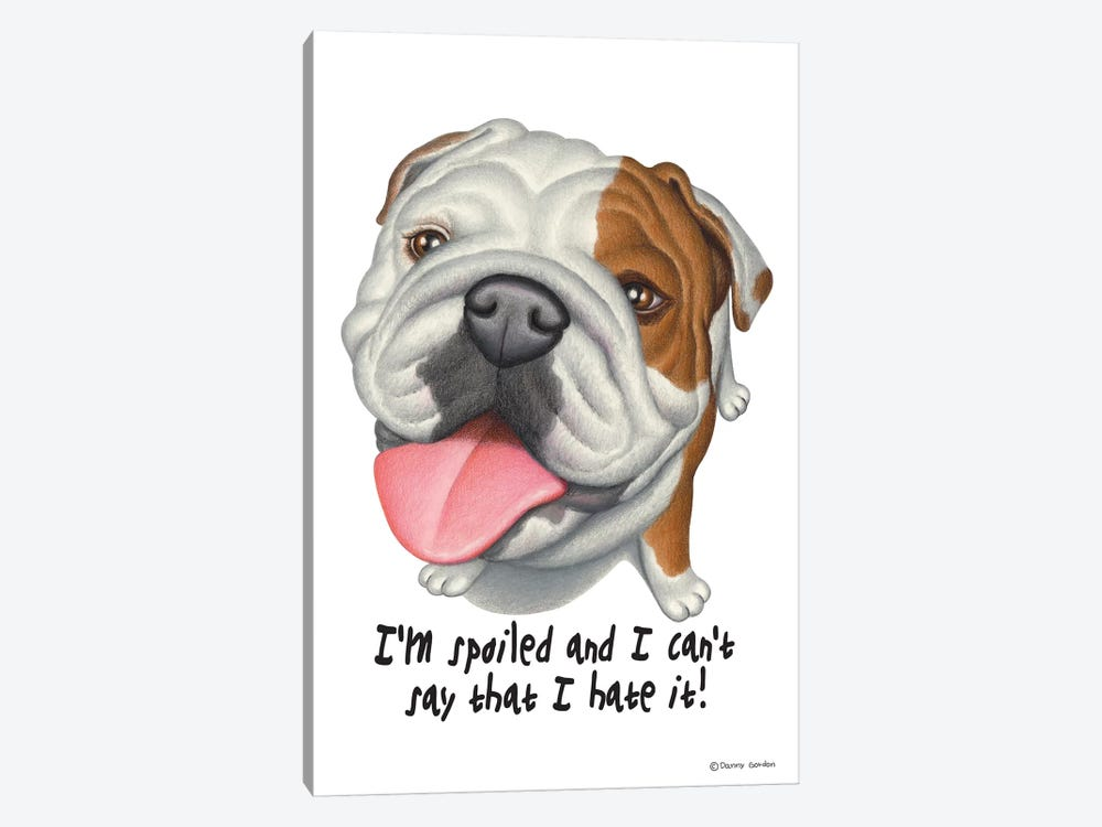 Bulldog With Sign by Danny Gordon 1-piece Canvas Wall Art