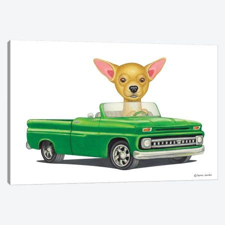 Chihuahua Green Car Canvas Print #DNG30} by Danny Gordon Canvas Wall Art