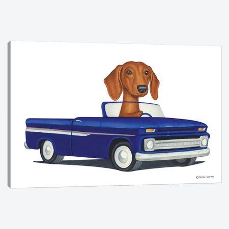 Dachshund Blue Car Canvas Print #DNG40} by Danny Gordon Art Print