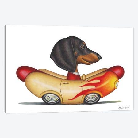 Dachshund Flaming Wienermobile Canvas Print #DNG42} by Danny Gordon Canvas Print