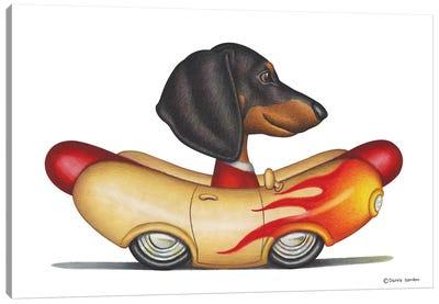 Dachshund Flaming Wienermobile Canvas Art Print