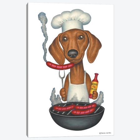 Dachshund Grilling Canvas Print #DNG43} by Danny Gordon Canvas Print