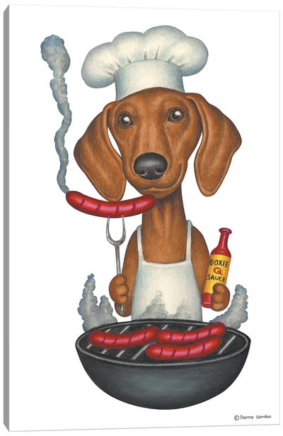 Dachshund Grilling Canvas Art Print