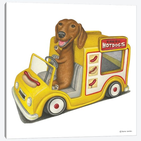 Dachshund Hot Dog Truck Canvas Print #DNG44} by Danny Gordon Canvas Wall Art