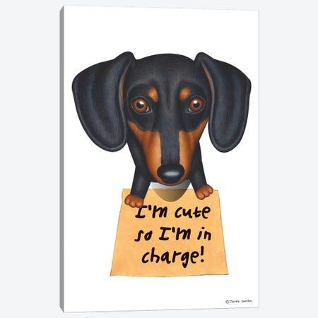 Dachshund I'm Cute Black And Tan Canvas Print #DNG47} by Danny Gordon Canvas Artwork