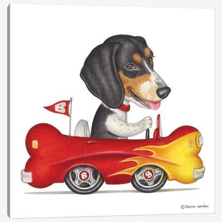 Beagle Flaming Bone Car Canvas Print #DNG4} by Danny Gordon Canvas Art
