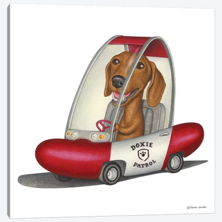 Dachshund Patrol Car Canvas Print #DNG55} by Danny Gordon Canvas Art Print