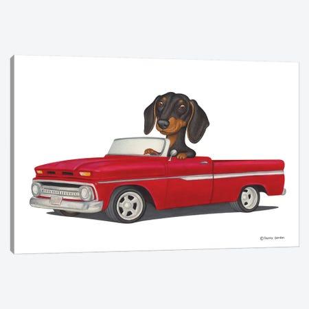 Dachshund Red Car Canvas Print #DNG59} by Danny Gordon Canvas Artwork