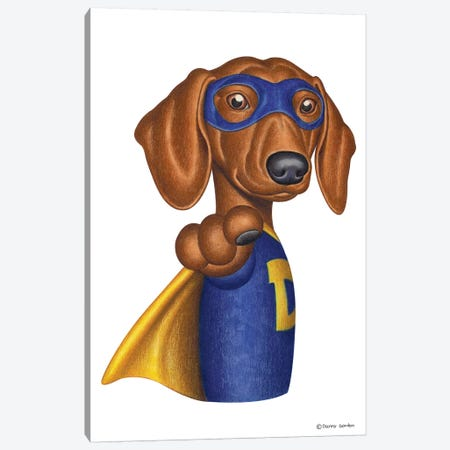 Dachshund Superhero 3-Piece Canvas #DNG62} by Danny Gordon Canvas Art Print