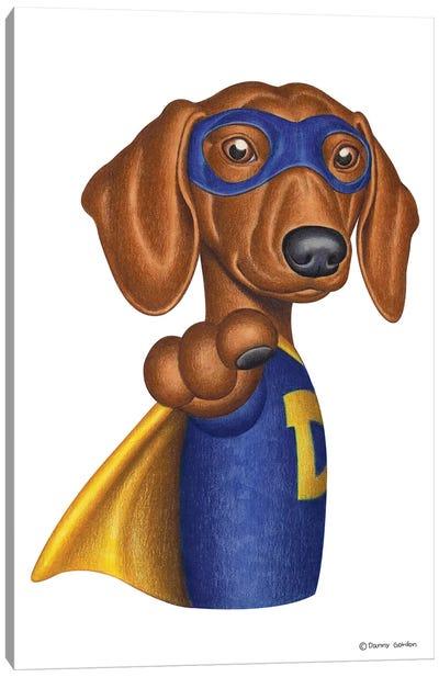 Dachshund Superhero Canvas Art Print