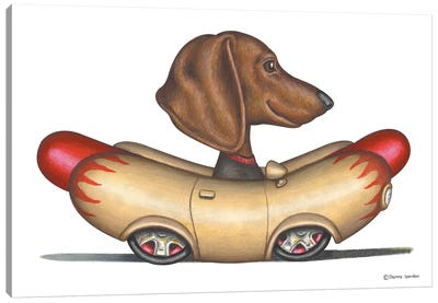 Dachshund Wienermobile Canvas Art Print