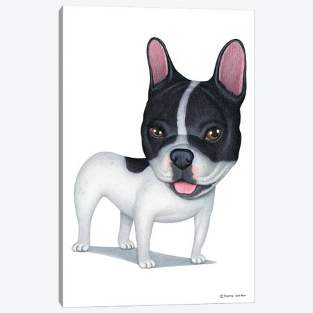French Bulldog White And Black Canvas Print #DNG68} by Danny Gordon Canvas Print