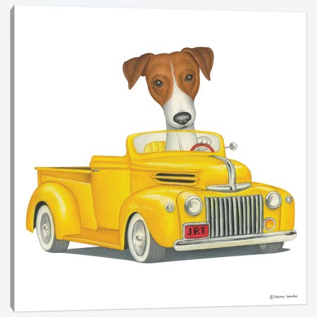 Jack Russell Terrier Yellow Truck Canvas Print #DNG74} by Danny Gordon Canvas Art Print