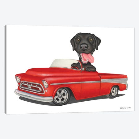 Labrador Retriever Red Car Canvas Print #DNG80} by Danny Gordon Canvas Art Print