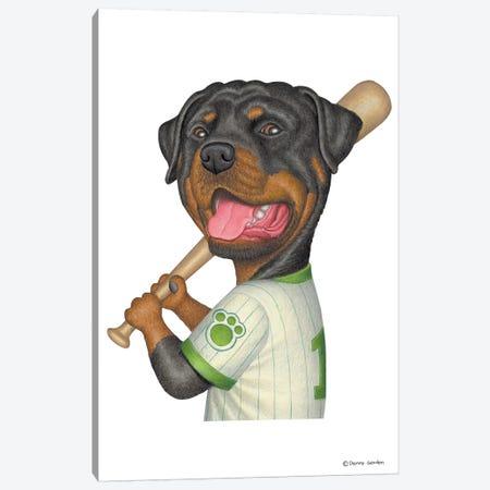 Rottweiler Ballplayer Canvas Print #DNG88} by Danny Gordon Canvas Art Print