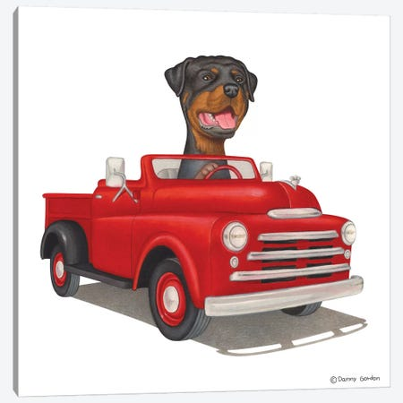 Rottweiler Red Truck Canvas Print #DNG90} by Danny Gordon Canvas Art
