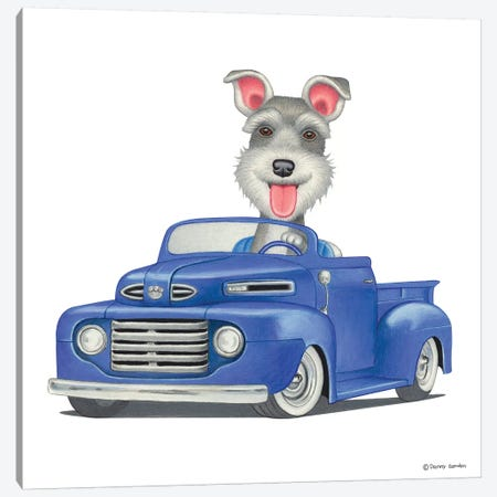 Schnauzer Blue Truck Canvas Print #DNG91} by Danny Gordon Canvas Wall Art