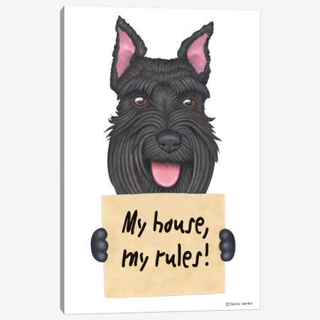 Schnauzer My House Canvas Print #DNG92} by Danny Gordon Canvas Artwork